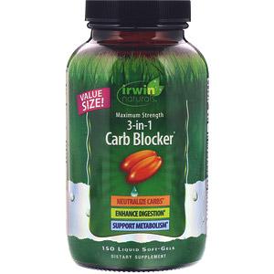 Irwin Naturals, 3-in-1 Carb Blocker, блокатор углеводов 3-в-1, максимальный эффект, 150желатиновых капсул