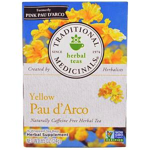 Traditional Medicinals, Желтый Пау д'Арко, натуральный травяной чай без кофеина, 16 пакетиков