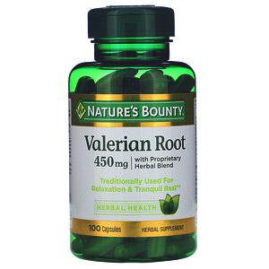Nature's Bounty, Корень валерианы с пассифлорой и другими травами, 450 мг, 100 капсул