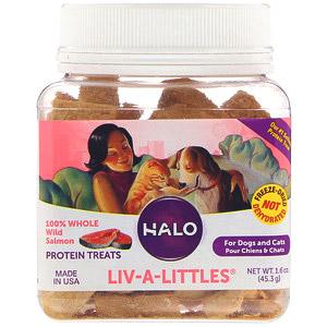 Halo, Liv-A-Littles, Белковое лакомство, 100% цельный лосось, выловленный в диких условиях, Для собак и кошек