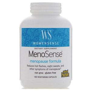 Natural Factors, WomenSense, MenoSense, формула для поддержки организма при менопаузе, 180 вегетарианских капсул