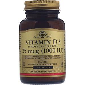 Solgar, Витамин D3, 25мкг (1000МЕ), 180таблеток