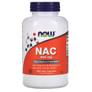 Now Foods, NAC, 600 мг, 250 растительных капсул