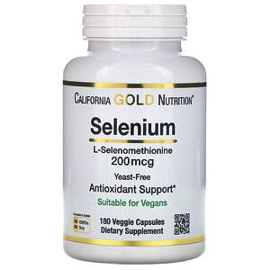 California Gold Nutrition, Селен, бездрожжевой, 200 мкг, 180 растительных капсул