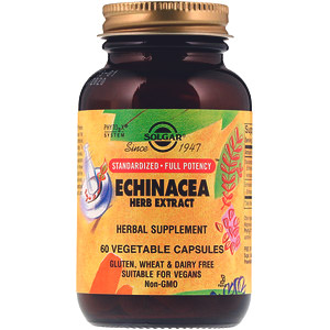 Solgar, Экстракт эхинацеи, 60 растительных капсул
