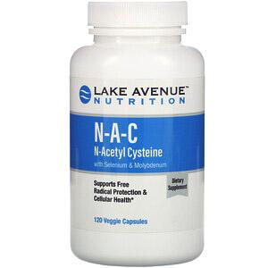 Lake Avenue Nutrition, N-A-C, N-ацетилцистеин с селеном и молибденом, 600 мг, 120 растительных капсул