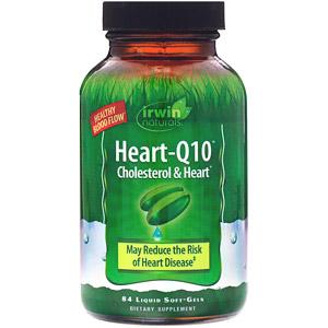 Irwin Naturals, Heart-Q10, холестерин и сердце, 84 мягкие желатиновые капсулы с жидкостью
