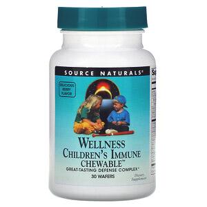 Source Naturals, Детские жевательные пастилки для поддержки иммунитета Wellness, со вкусом ягод, 30 пастилок
