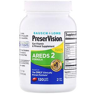 Bausch & Lomb, PreserVision, AREDS 2 Formula, добавка для здоровья глаз с витаминами и минералами, 120 мягких таблеток