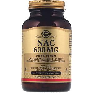 Solgar, NAC, 600 мг, 120 растительных капсул