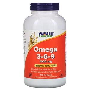 Now Foods, Омега 3-6-9, 1000мг, 250мягких желатиновых капсул