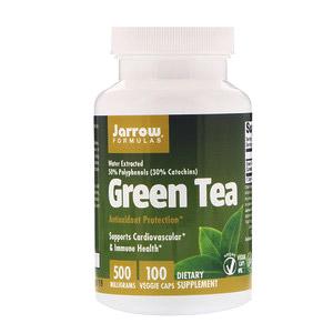 Jarrow Formulas, Зелёный чай, 500 мг, 100 растительных капсул