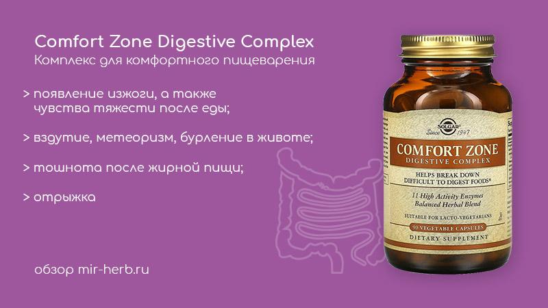 Описание комплекса для комфортного пищеварения (Comfort Zone Digestive Complex) от компании Solgar: изучаем состав, инструкцию и показания к применению