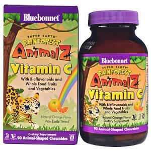 Bluebonnet Nutrition, Super Earth, Rainforest Animalz, витамин С
