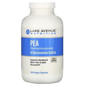 Lake Avenue Nutrition, ПЭА (пальмитоилэтаноламид) + сульфат глюкозамина, 600 мг + 1200 мг на порцию, 360 растительных капсул
