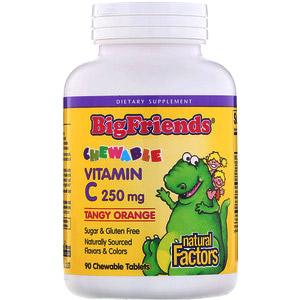 Natural Factors, Big Friends, жевательный витамин С, с биофлавоноидами апельсинового вкуса