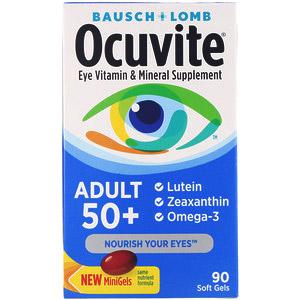 Bausch & Lomb, Ocuvite, для людей старше 50 лет, добавка с витаминами и минералами для здоровья глаз, 90 мягких таблеток