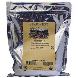 Starwest Botanicals, Натуральные семена пажитника, 453.6 г