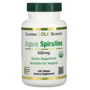 California Gold Nutrition, Organic Spirulina, USDA Organic, 500 mg, 240