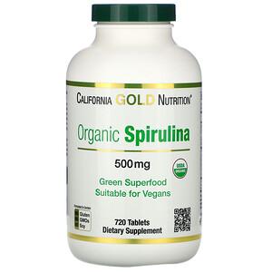 California Gold Nutrition, Organic Spirulina, USDA Organic, 500 mg, 720