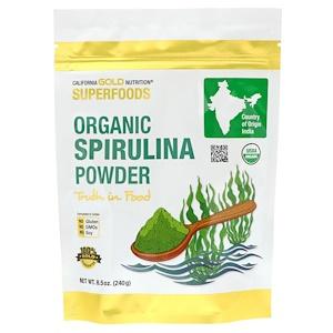 California Gold Nutrition, Superfoods, органический порошок спирулины, 240 г