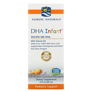 Nordic Naturals, Докозагексаеновая кислота (ДГК) с витамином D3 для младенцев