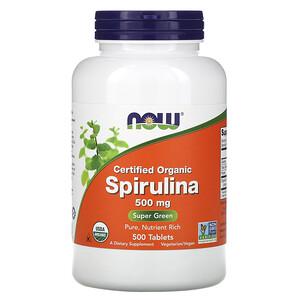 Now Foods, сертифицированная органическая спирулина, 500 мг