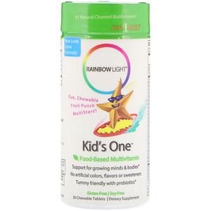 Rainbow Light, Kid's One, MultiStars, Пищевые мультивитамины, фруктовый пунш, 30