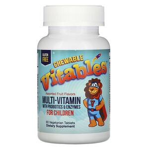 Vitables, жевательные мультивитамины с пробиотиками и ферментами для детей, фруктовое ассорти, 60