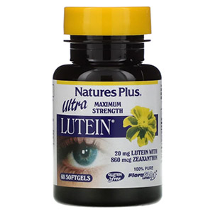Nature's Plus, Ultra Lutein, максимальная сила, 20 мг, 60