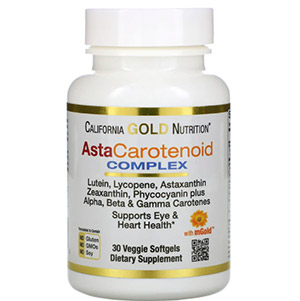 California Gold Nutrition, AstaCarotenoid, комплекс с лютеином, ликопином и астаксантином, 30