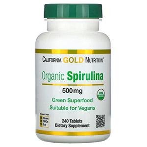 California Gold Nutrition, органическая спирулина, сертификат USDA Organic, 500 мг, 240 таблеток