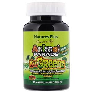 Nature's Plus, Source of Life, Animal Parade, Kid Greenz, вкус натуральных тропических фруктов, 90 животных