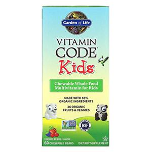 Garden of Life, Vitamin Code, для детей, жевательные цельнопищевые мультивитамины для детей, вишня, 60 жевательных мишек
