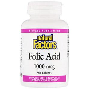 Natural Factors, Фолиевая кислота, 1000 мкг, 90