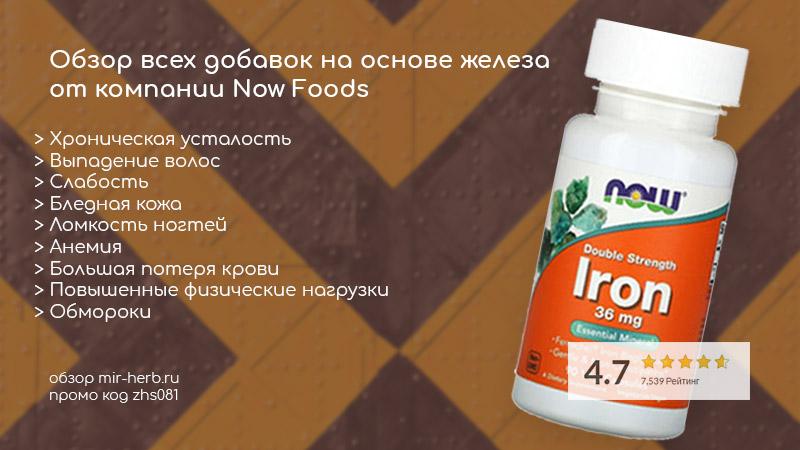 Обзор всех добавок на основе железа (iron) от компании Now Foods. Инструкция, как принимать, состав, отзывы