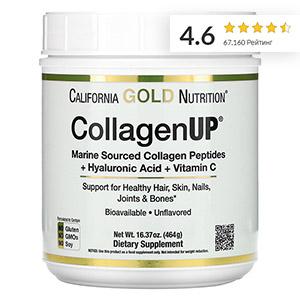 California Gold Nutrition, CollagenUP, морской гидролизованный коллаген, гиалуроновая кислота и витамин C, без вкусовых добавок, 464 г