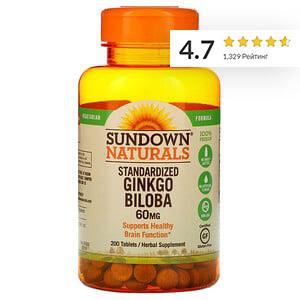 Sundown Naturals, стандартизированный гинкго билоба