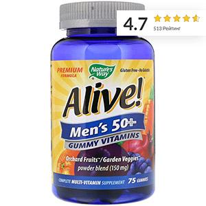 Nature's Way, Alive!, жевательные витамины для мужчин старше 50 лет