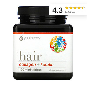 Youtheory, средство для волос, коллаген и кератин