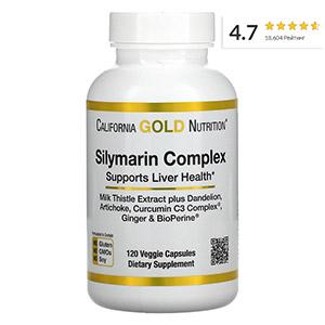 California Gold Nutrition, силимариновый комплекс, здоровье печени, расторопша, куркумин, артишок, одуванчик, имбирь, черный перец, 300мг, 120 капсул