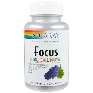 Solaray, Focus, для детей, вкус винограда