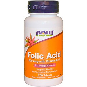 Now Foods, Folic Acid with Vitamin B-12, 800 mcg