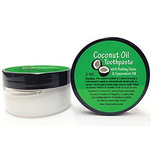 Greensations, Coconut Oil Toothpaste with Baking Soda and Spearmint Oil