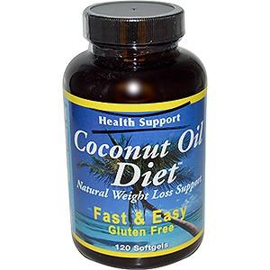 Health Support, Coconut Oil diet – пищевая добавка, капсулы с кокосовым маслом для похудения