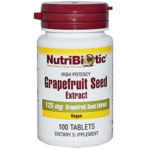 NutriBiotic, Семена грейпфрута, экстракт 125 мг, 100 таблеток