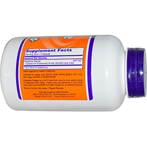 Now Foods, Cayenne, 500 мг, 250 капсулы