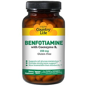 Country Life, Бенфотиамин, с коферментом B1, 150 мг, 60 капсул