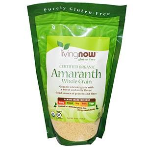 Now Foods, Сертифицированные органические цельные зерна амаранта, 454 г