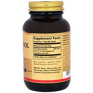 Solgar, Ресвератрол, 500 мг, 30 капсул